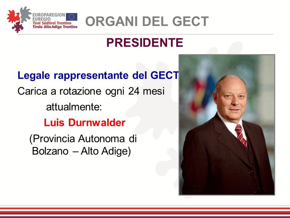 ORGANI DEL GECT PRESIDENTE Legale rappresentante del GECT