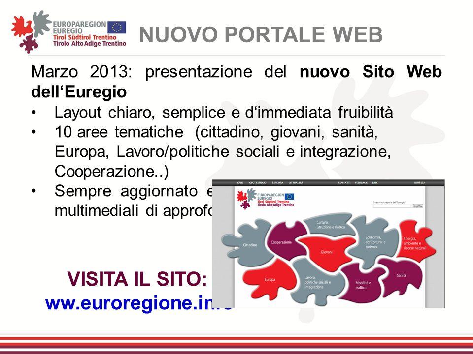 NUOVO PORTALE WEB VISITA IL SITO: ww.euroregione.info