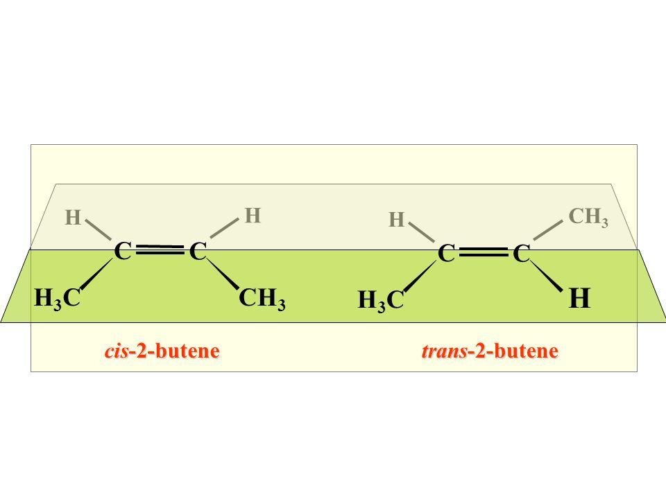 H H H CH3 C C C C H3C CH3 H3C H cis-2-butene trans-2-butene