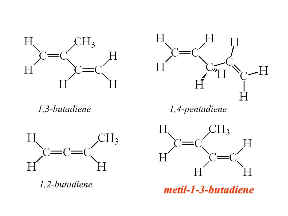 1,3-butadiene 1,4-pentadiene 1,2-butadiene metil-1-3-butadiene