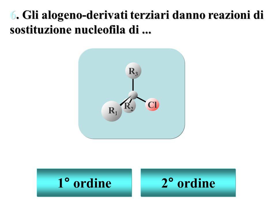1° ordine 2° ordine 6. Gli alogeno-derivati terziari danno reazioni di