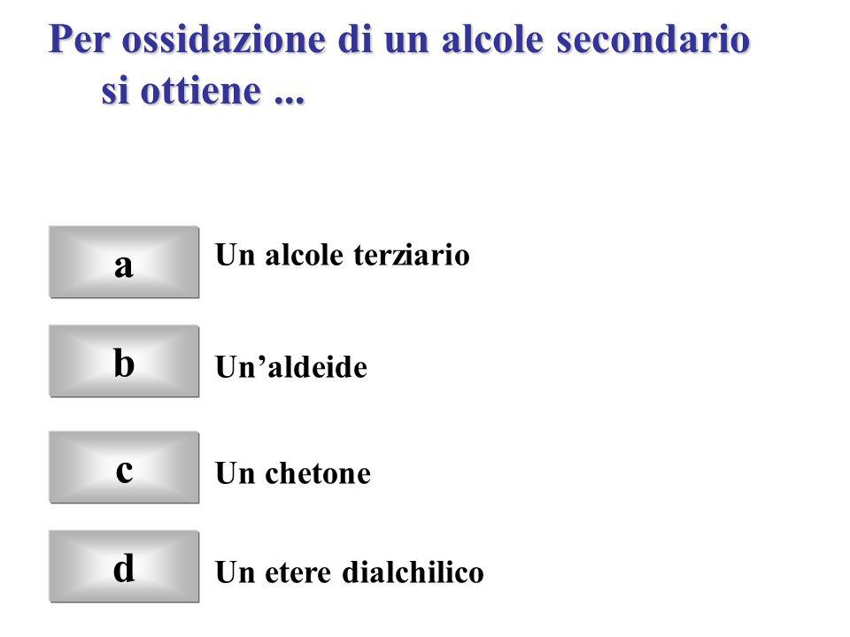 Per ossidazione di un alcole secondario si ottiene ...