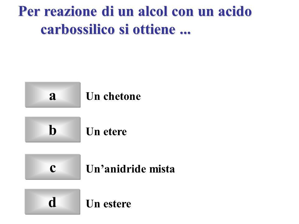 Per reazione di un alcol con un acido carbossilico si ottiene ...
