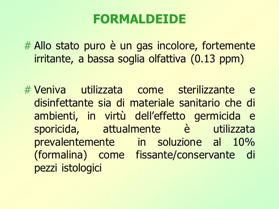 FORMALDEIDE Allo stato puro è un gas incolore, fortemente irritante, a bassa soglia olfattiva (0.13 ppm)