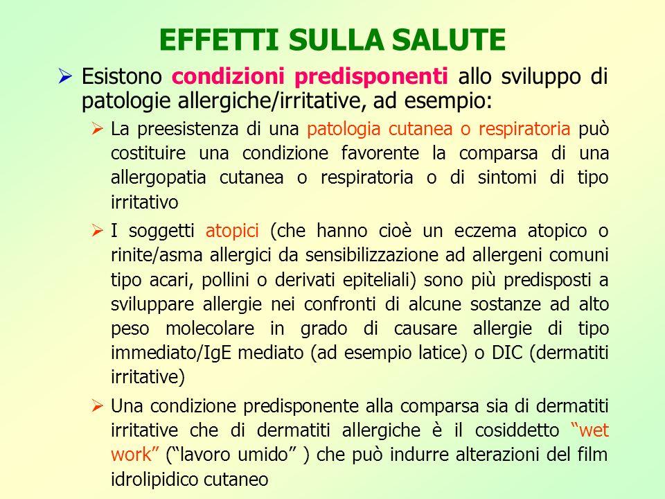 EFFETTI SULLA SALUTE Esistono condizioni predisponenti allo sviluppo di patologie allergiche/irritative, ad esempio: