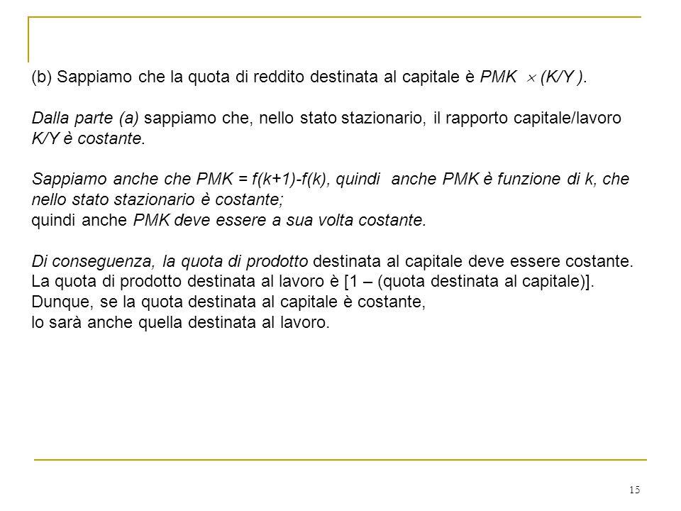 (b) Sappiamo che la quota di reddito destinata al capitale è PMK  (K/Y ).