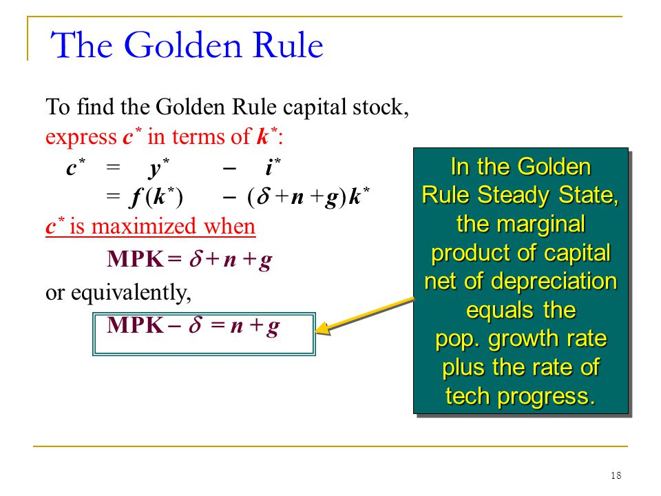 The Golden Rule To find the Golden Rule capital stock, express c* in terms of k*: c* = y*  i*