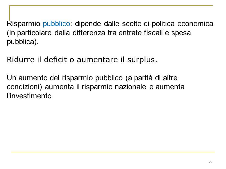 Risparmio pubblico: dipende dalle scelte di politica economica (in particolare dalla differenza tra entrate fiscali e spesa pubblica).