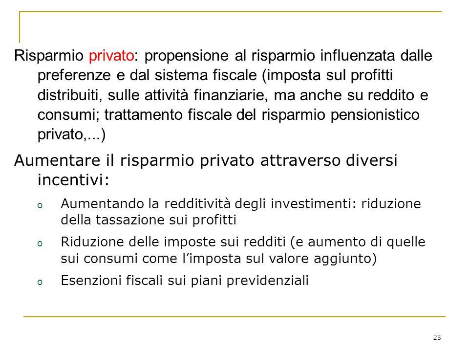 Aumentare il risparmio privato attraverso diversi incentivi: