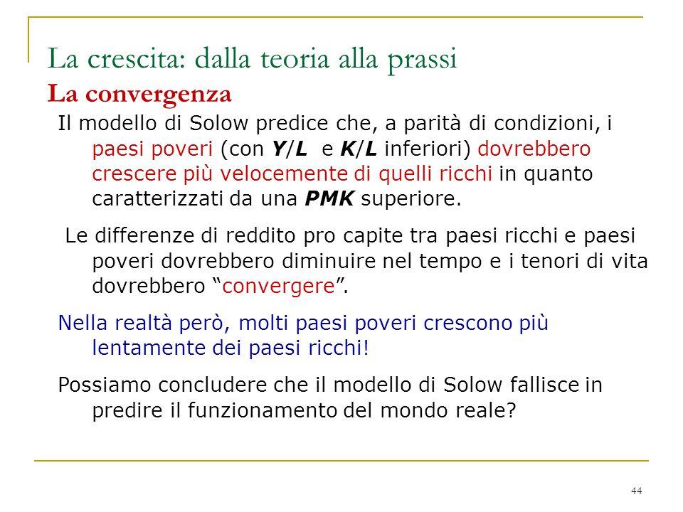 La crescita: dalla teoria alla prassi La convergenza