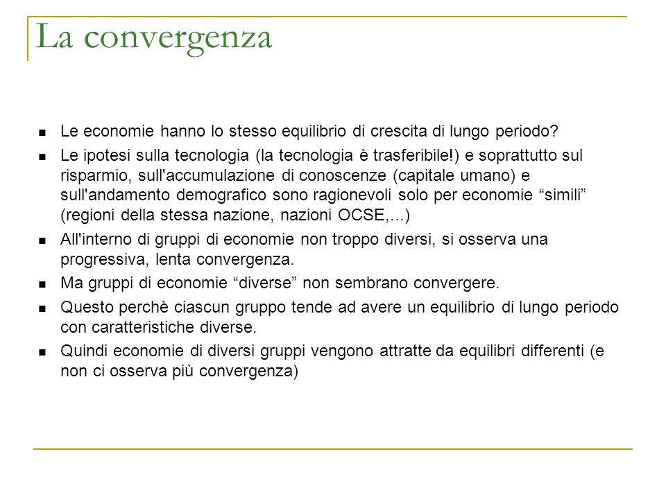 La convergenza Le economie hanno lo stesso equilibrio di crescita di lungo periodo