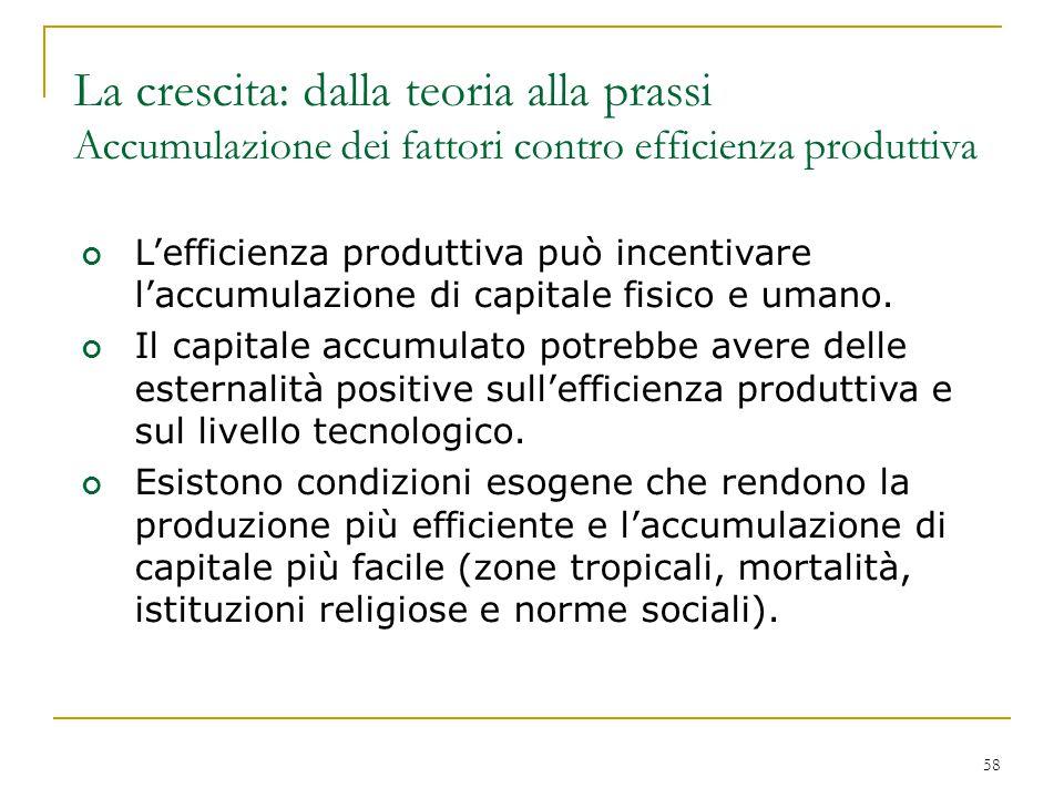 La crescita: dalla teoria alla prassi Accumulazione dei fattori contro efficienza produttiva