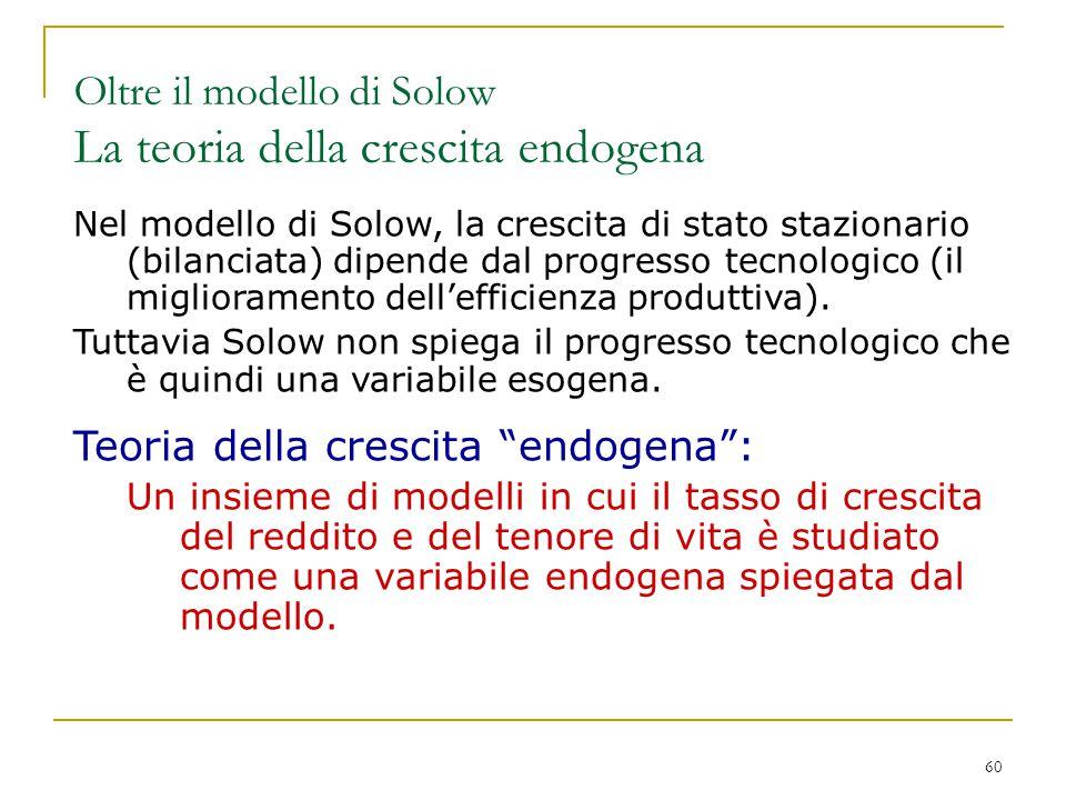 Oltre il modello di Solow La teoria della crescita endogena