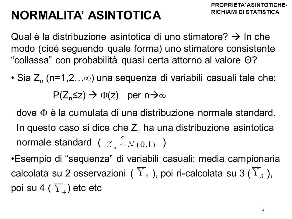 NORMALITA' ASINTOTICA