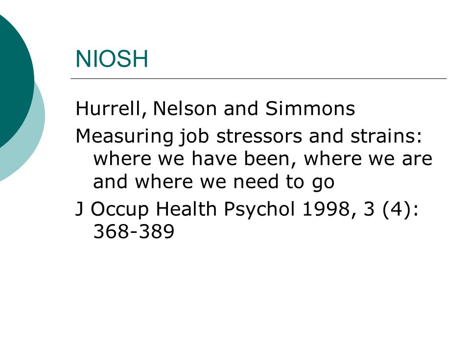 NIOSH Hurrell, Nelson and Simmons