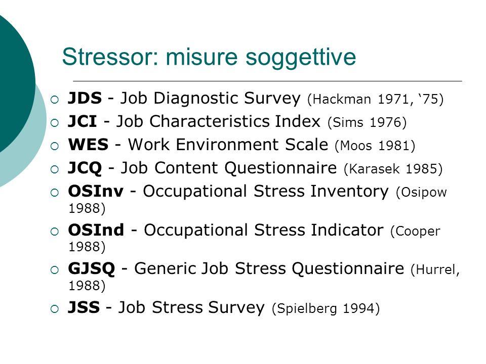 Stressor: misure soggettive