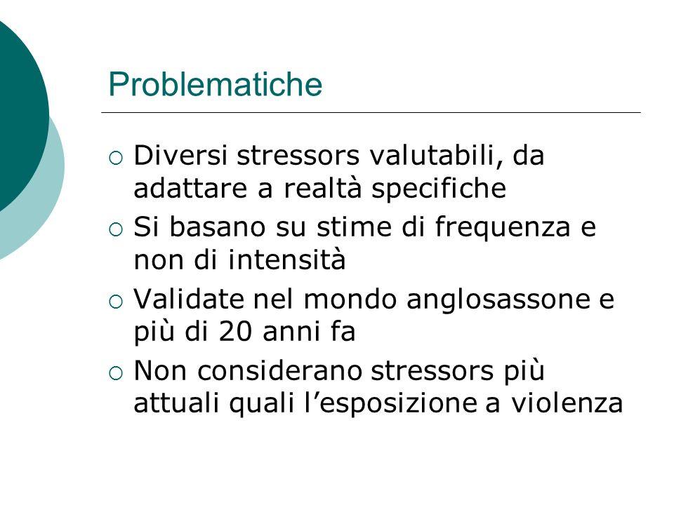 Problematiche Diversi stressors valutabili, da adattare a realtà specifiche. Si basano su stime di frequenza e non di intensità.
