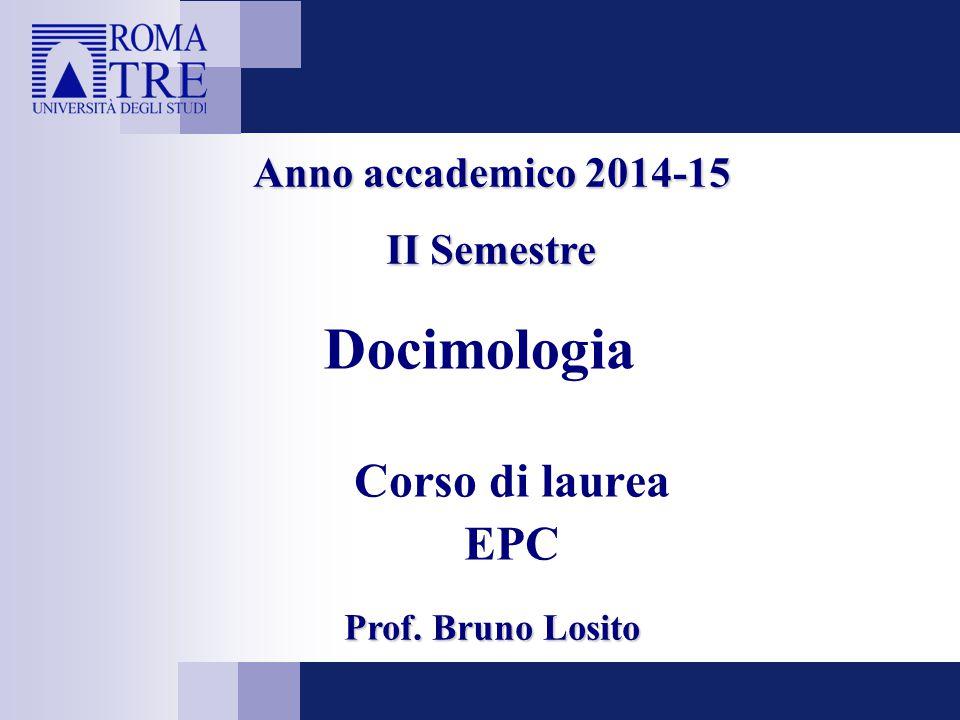 Docimologia Corso di laurea EPC Anno accademico 2014-15 II Semestre