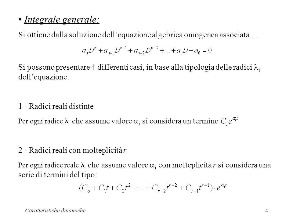 Integrale generale: Si ottiene dalla soluzione dell'equazione algebrica omogenea associata…