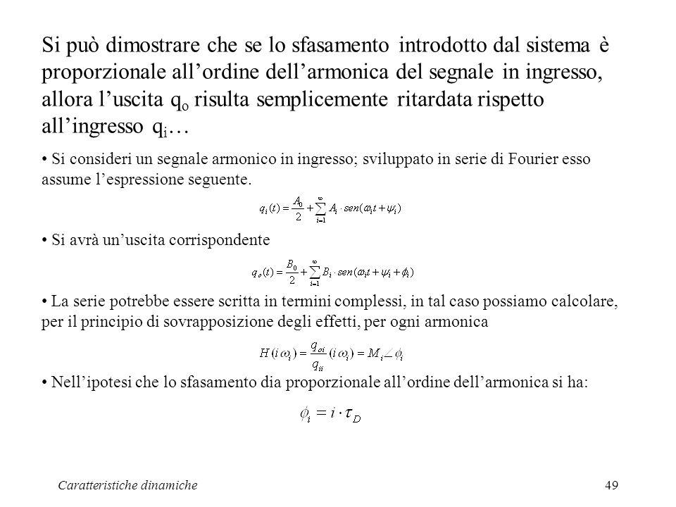 Si può dimostrare che se lo sfasamento introdotto dal sistema è proporzionale all'ordine dell'armonica del segnale in ingresso, allora l'uscita qo risulta semplicemente ritardata rispetto all'ingresso qi…