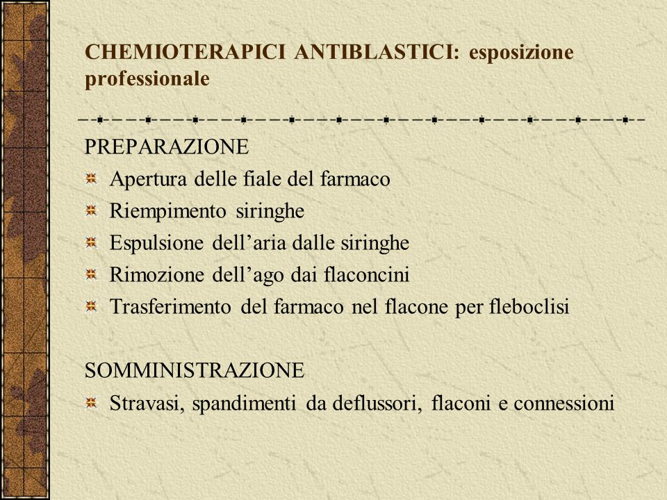 CHEMIOTERAPICI ANTIBLASTICI: esposizione professionale