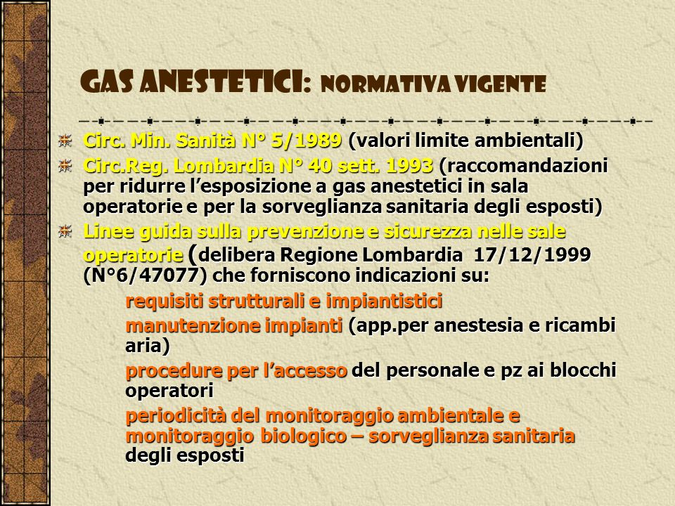 Gas anestetici: normativa vigente