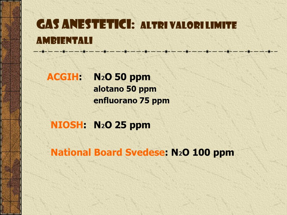 Gas anestetici: altri valori limite ambientali