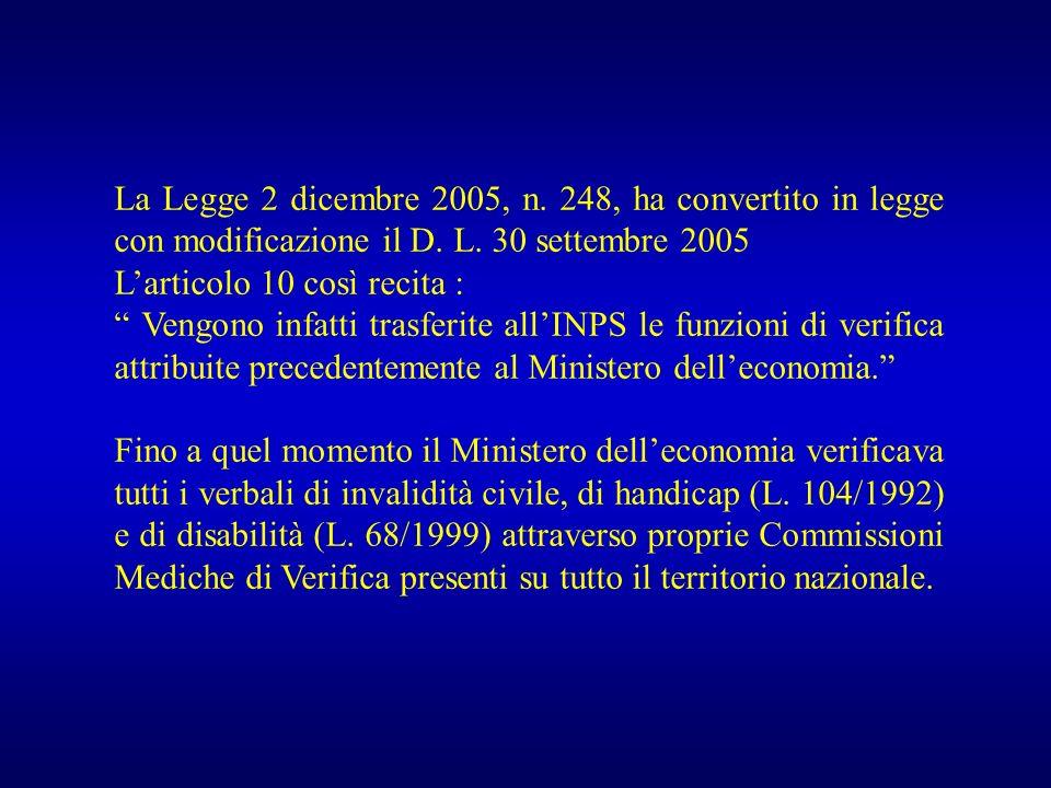 La Legge 2 dicembre 2005, n. 248, ha convertito in legge con modificazione il D. L. 30 settembre 2005