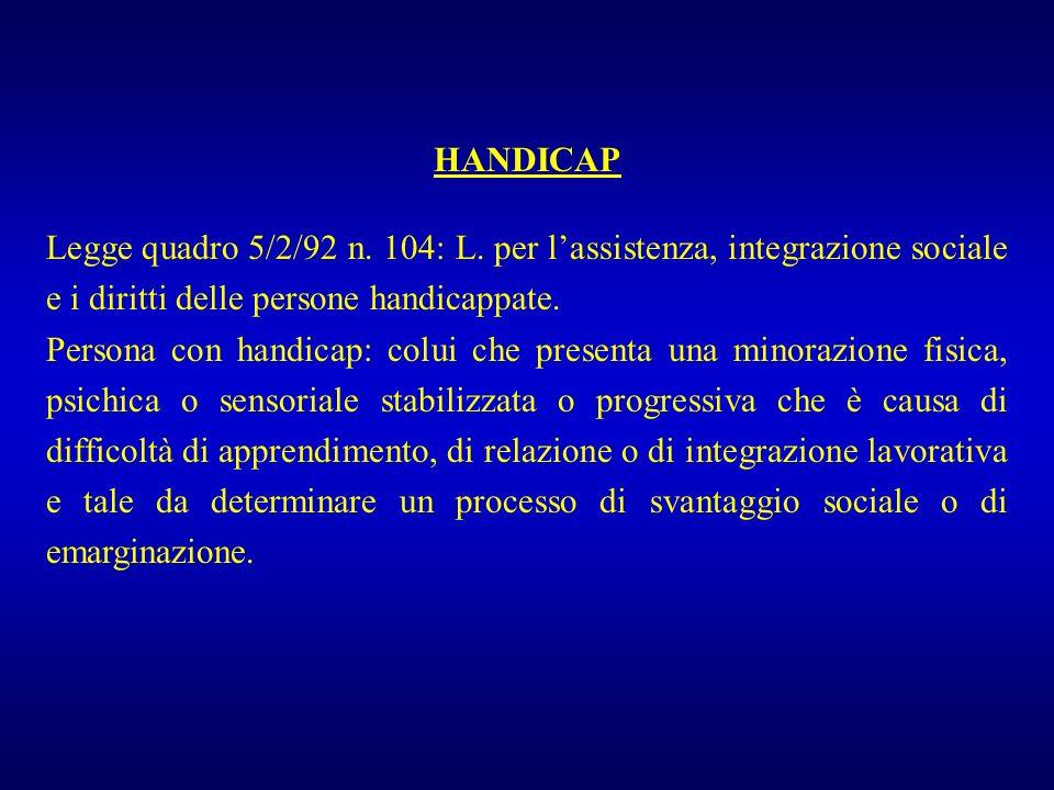 HANDICAP Legge quadro 5/2/92 n. 104: L. per l'assistenza, integrazione sociale e i diritti delle persone handicappate.