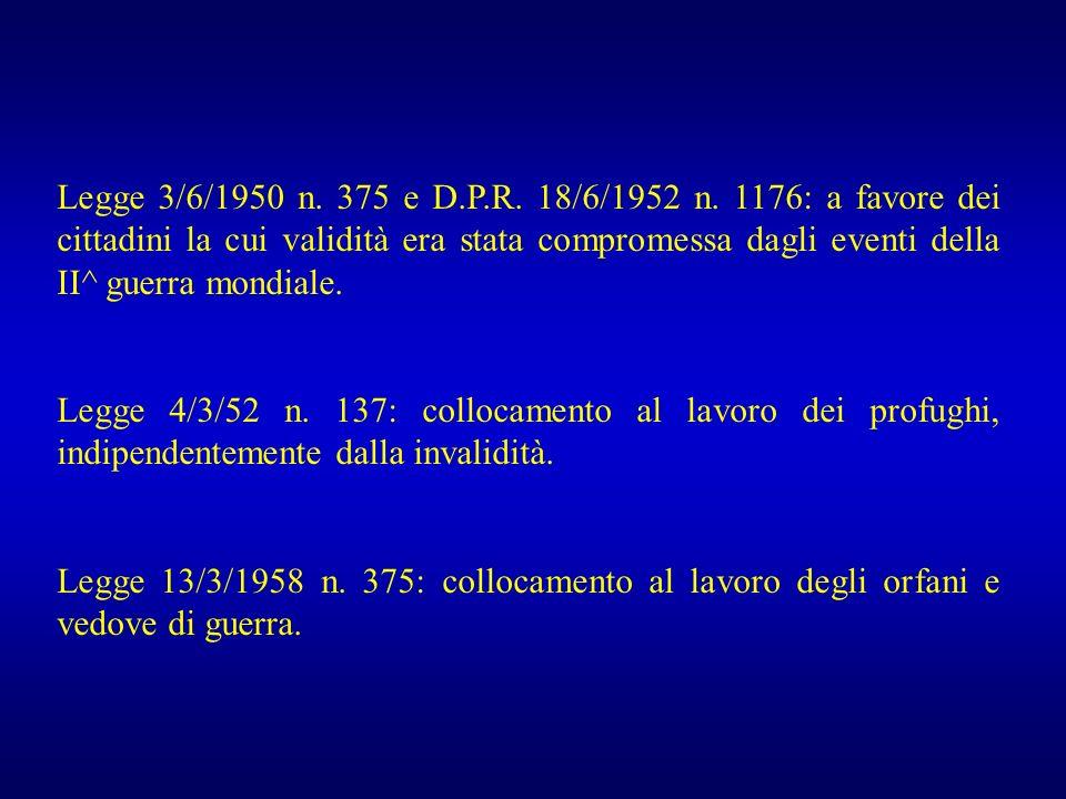 Legge 3/6/1950 n. 375 e D.P.R. 18/6/1952 n. 1176: a favore dei cittadini la cui validità era stata compromessa dagli eventi della II^ guerra mondiale.