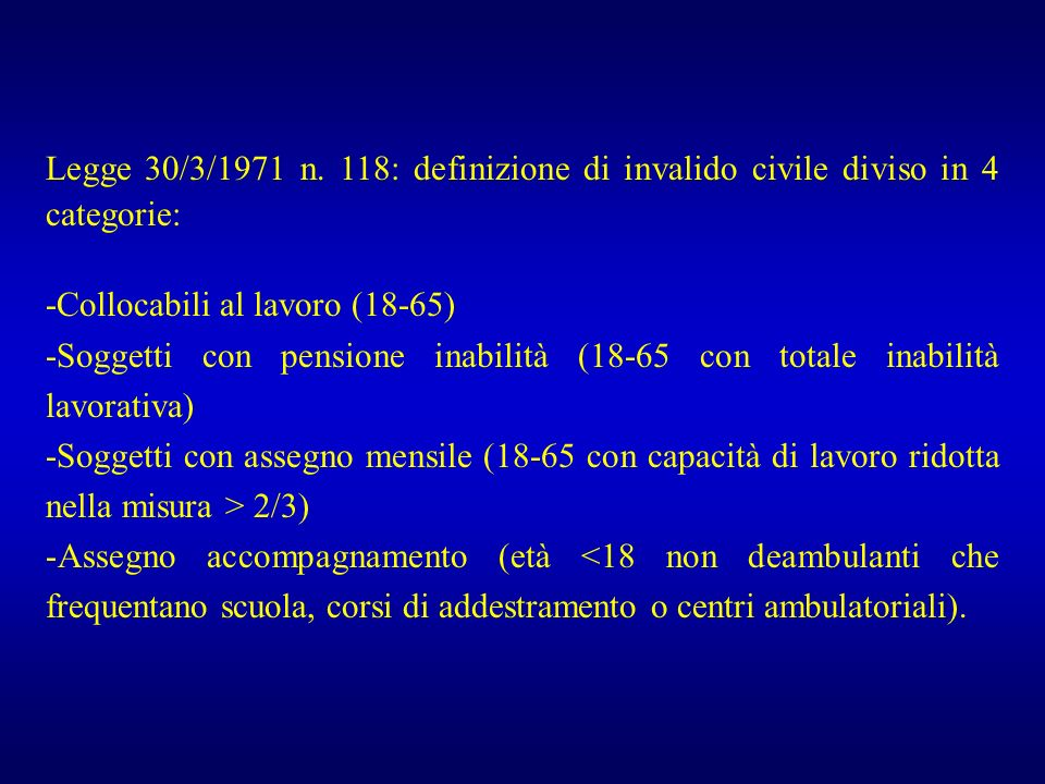 Legge 30/3/1971 n. 118: definizione di invalido civile diviso in 4 categorie: