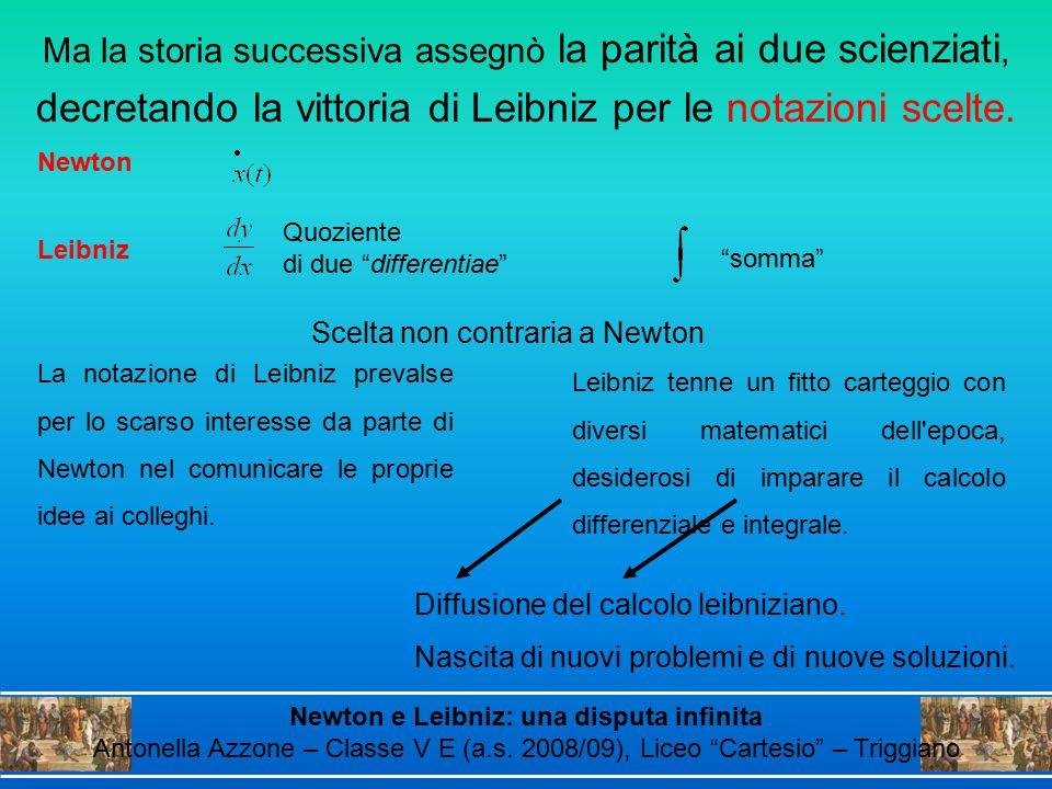 decretando la vittoria di Leibniz per le notazioni scelte.