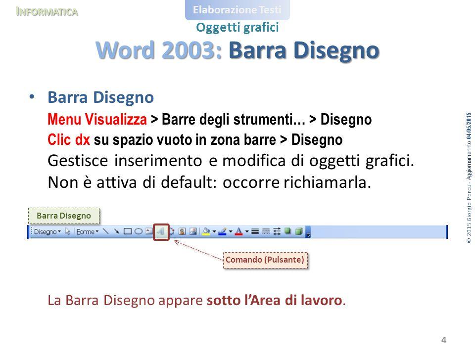 Word 2003: Barra Disegno Barra Disegno