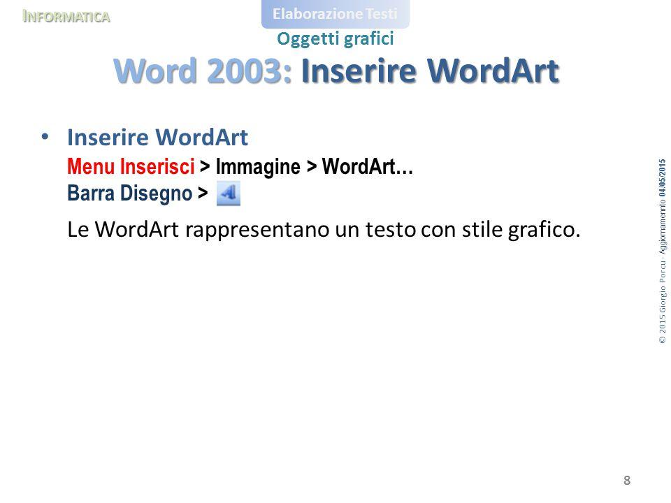 Word 2003: Inserire WordArt