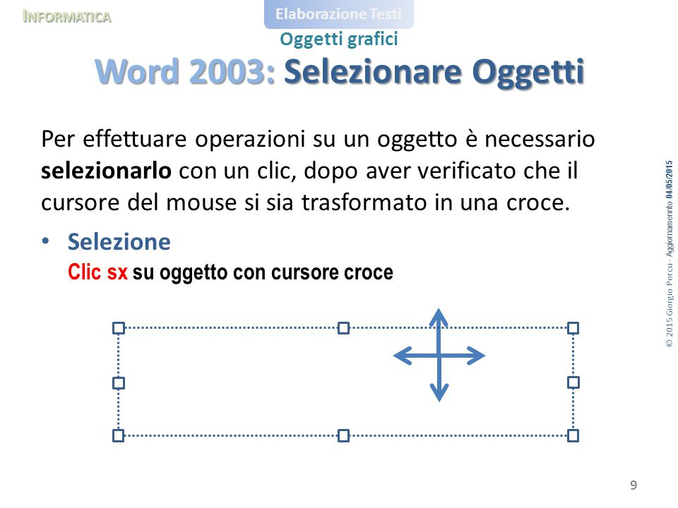 Word 2003: Selezionare Oggetti
