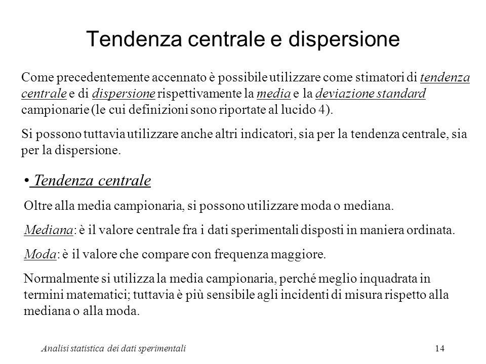 Tendenza centrale e dispersione