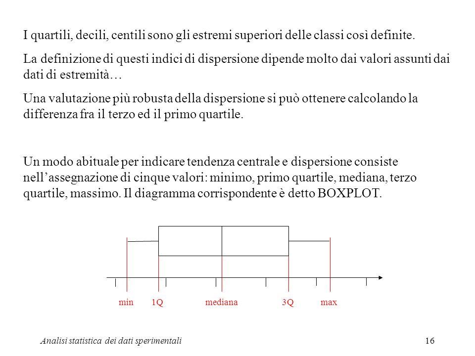 I quartili, decili, centili sono gli estremi superiori delle classi così definite.