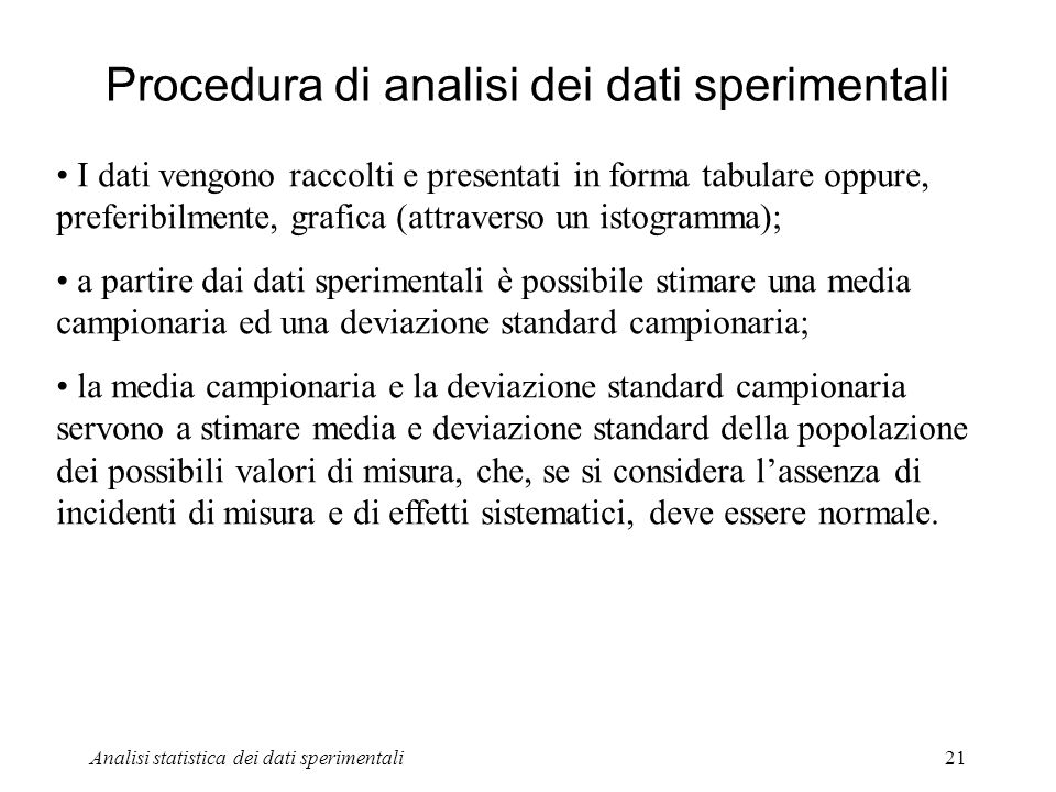 Procedura di analisi dei dati sperimentali