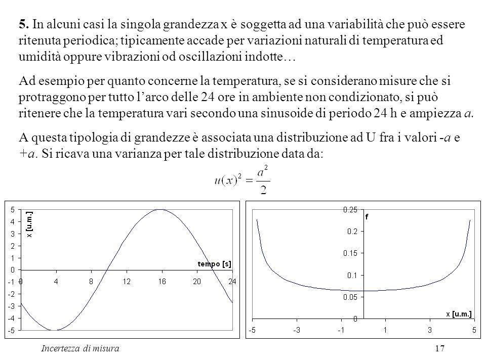5. In alcuni casi la singola grandezza x è soggetta ad una variabilità che può essere ritenuta periodica; tipicamente accade per variazioni naturali di temperatura ed umidità oppure vibrazioni od oscillazioni indotte…