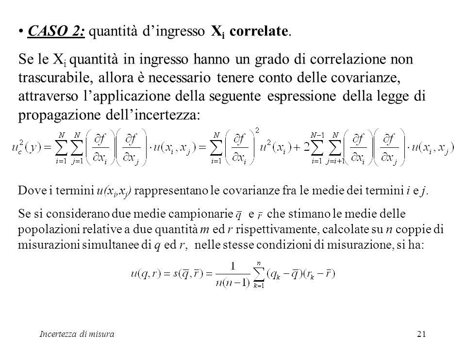 CASO 2: quantità d'ingresso Xi correlate.