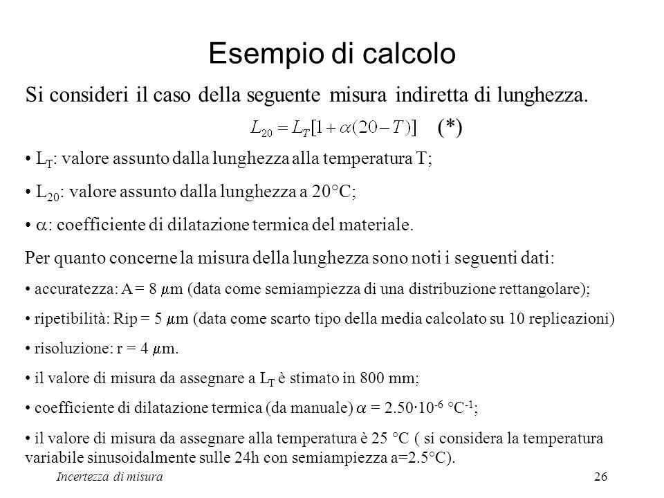 Esempio di calcolo Si consideri il caso della seguente misura indiretta di lunghezza. (*) LT: valore assunto dalla lunghezza alla temperatura T;