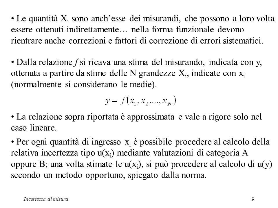 Le quantità Xi sono anch'esse dei misurandi, che possono a loro volta essere ottenuti indirettamente… nella forma funzionale devono rientrare anche correzioni e fattori di correzione di errori sistematici.