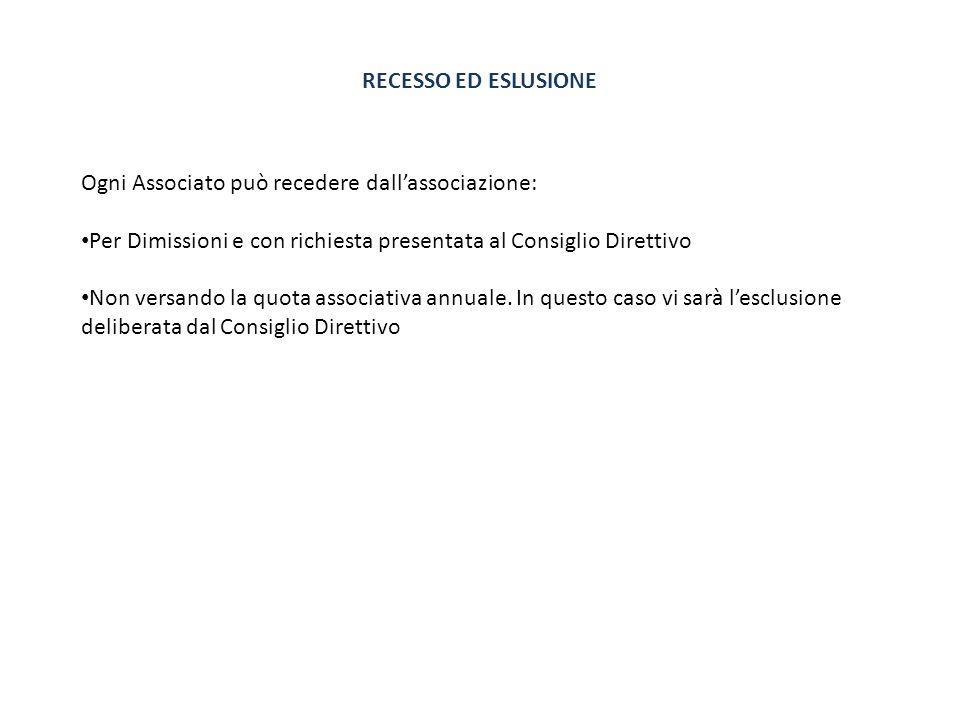 RECESSO ED ESLUSIONE Ogni Associato può recedere dall'associazione: Per Dimissioni e con richiesta presentata al Consiglio Direttivo.