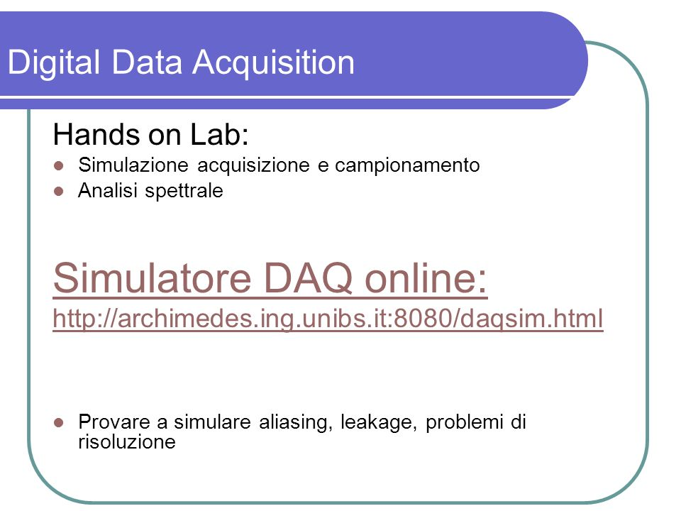 Simulatore DAQ online: