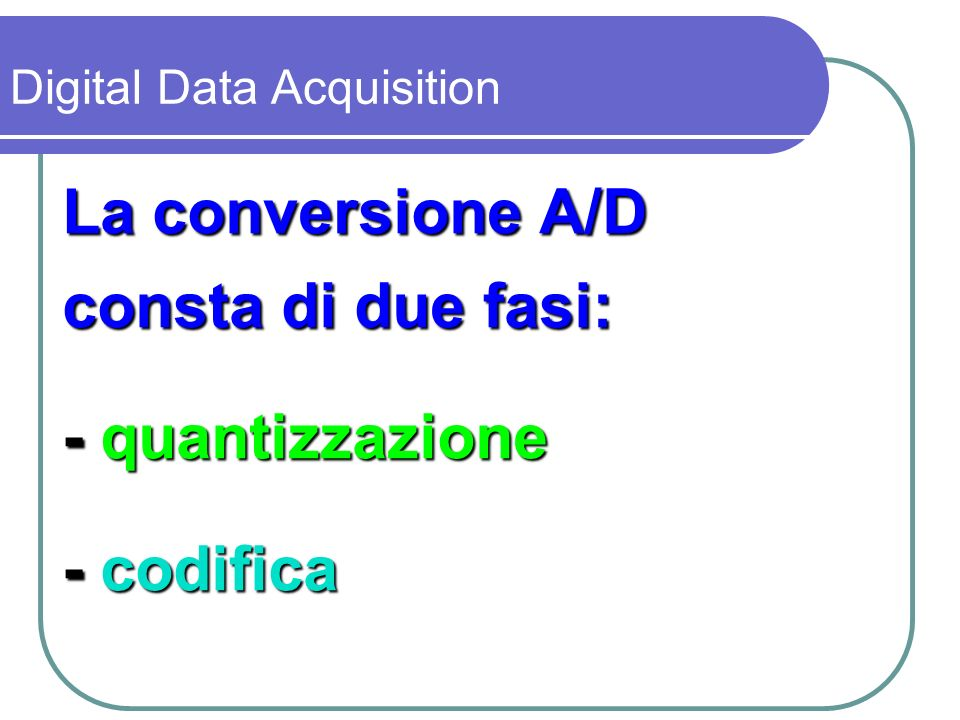 La conversione A/D consta di due fasi: