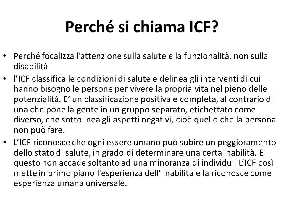 Perché si chiama ICF Perché focalizza l'attenzione sulla salute e la funzionalità, non sulla disabilità.