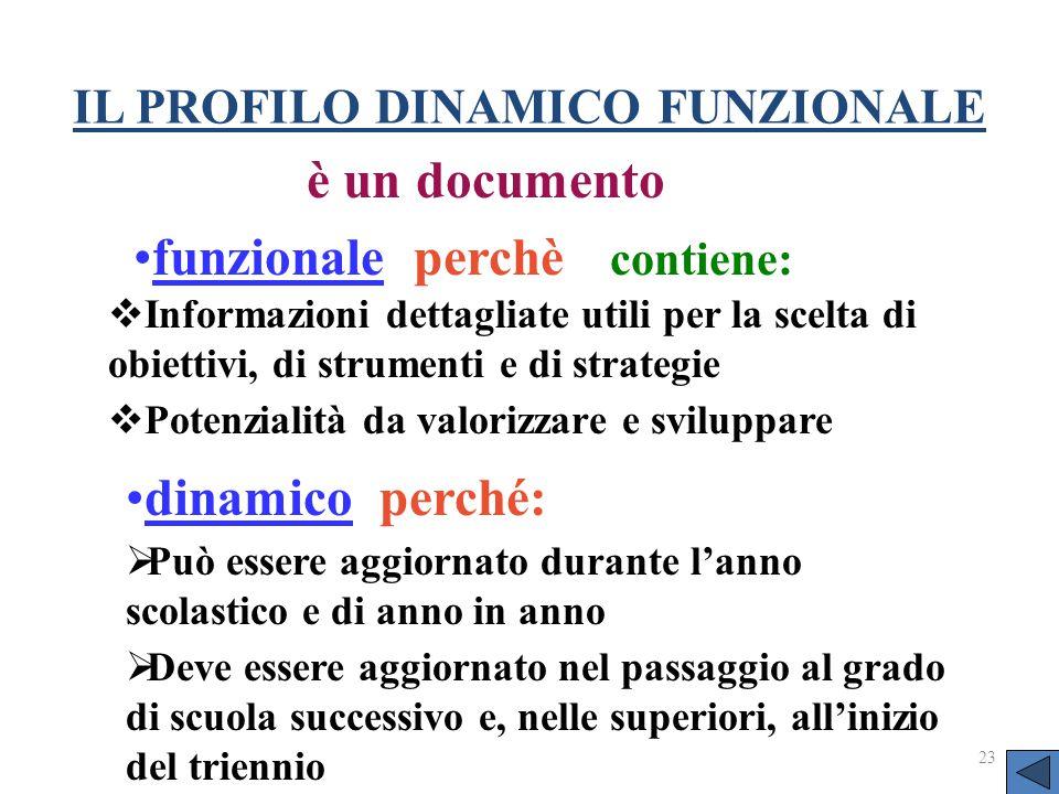 IL PROFILO DINAMICO FUNZIONALE funzionale perchè contiene: