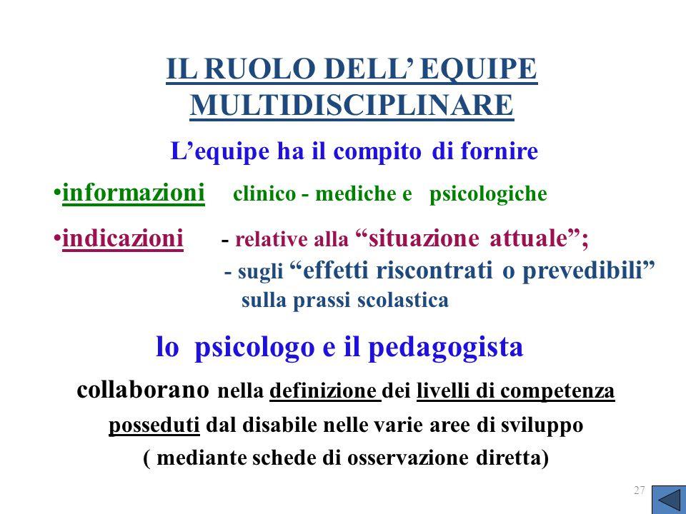 IL RUOLO DELL' EQUIPE MULTIDISCIPLINARE lo psicologo e il pedagogista