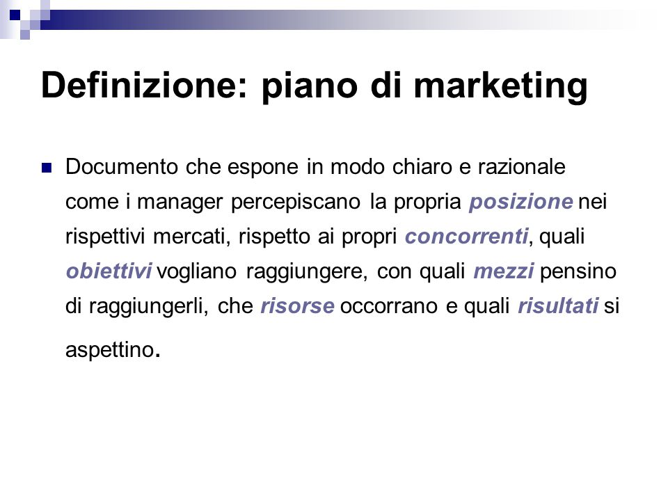 Definizione: piano di marketing