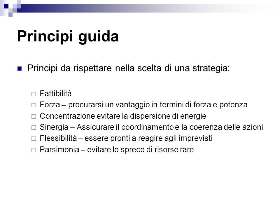 Principi guida Principi da rispettare nella scelta di una strategia: